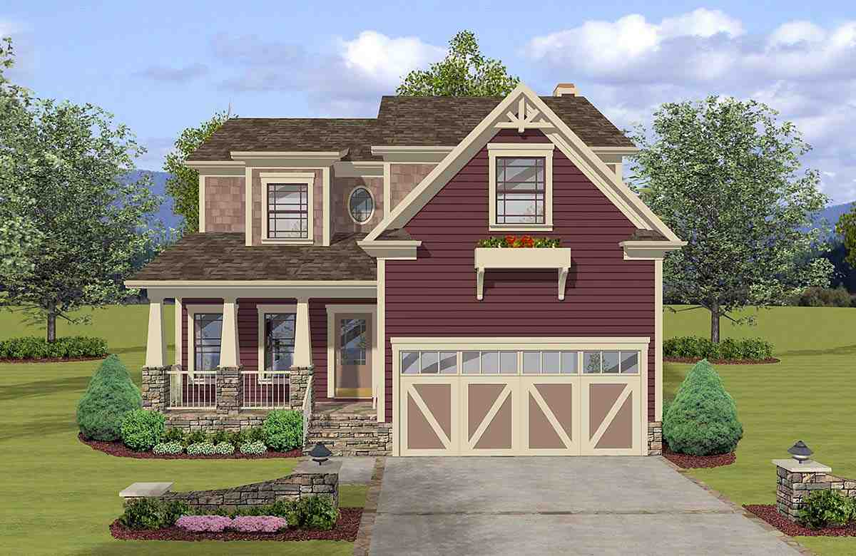 Craftsman, Farmhouse, Narrow Lot, Traditional House Plan 74869 with 3 Beds, 3 Baths, 2 Car Garage Elevation