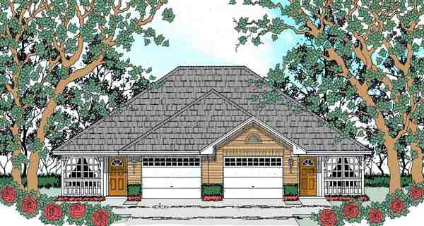 Traditional Multi-Family Plan 75050 with 4 Beds, 2 Baths, 2 Car Garage Elevation
