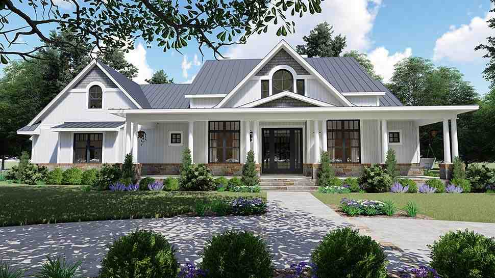 Country, Farmhouse, Southern House Plan 75154 with 3 Beds, 3 Baths, 2 Car Garage Picture 1