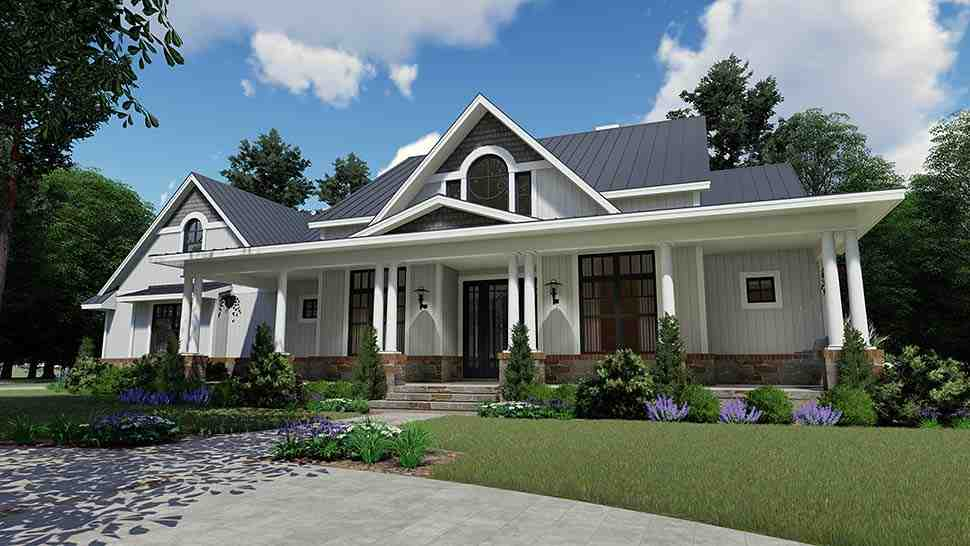 Country, Farmhouse, Southern House Plan 75154 with 3 Beds, 3 Baths, 2 Car Garage Picture 9