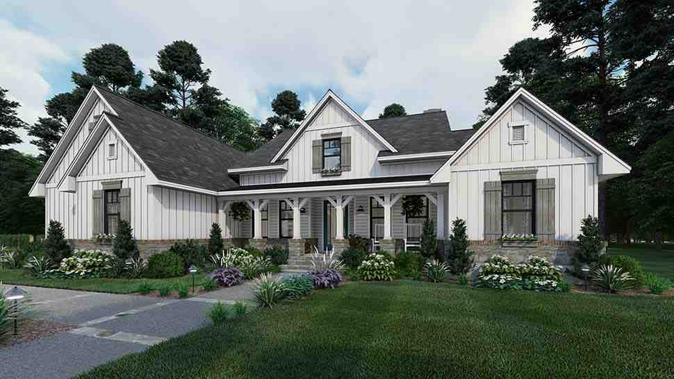 Cottage, Farmhouse, Southern House Plan 75160 with 4 Beds, 3 Baths, 2 Car Garage Picture 2