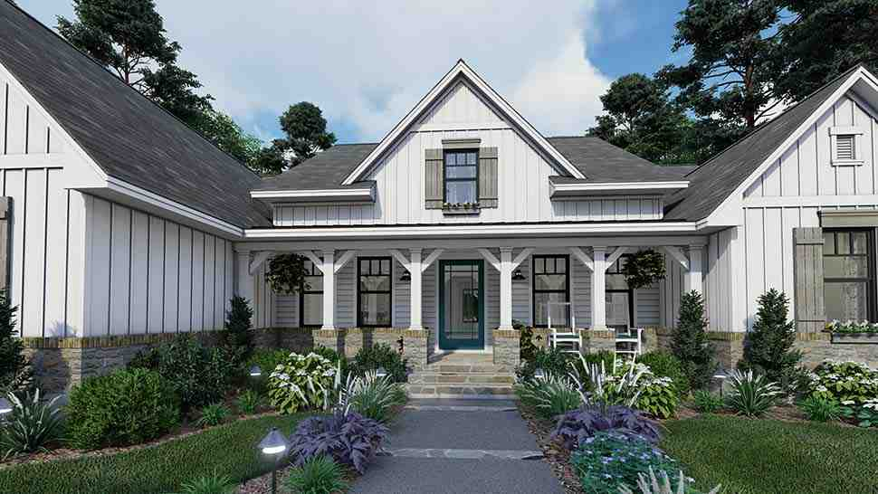 Cottage, Farmhouse, Southern House Plan 75160 with 4 Beds, 3 Baths, 2 Car Garage Picture 3