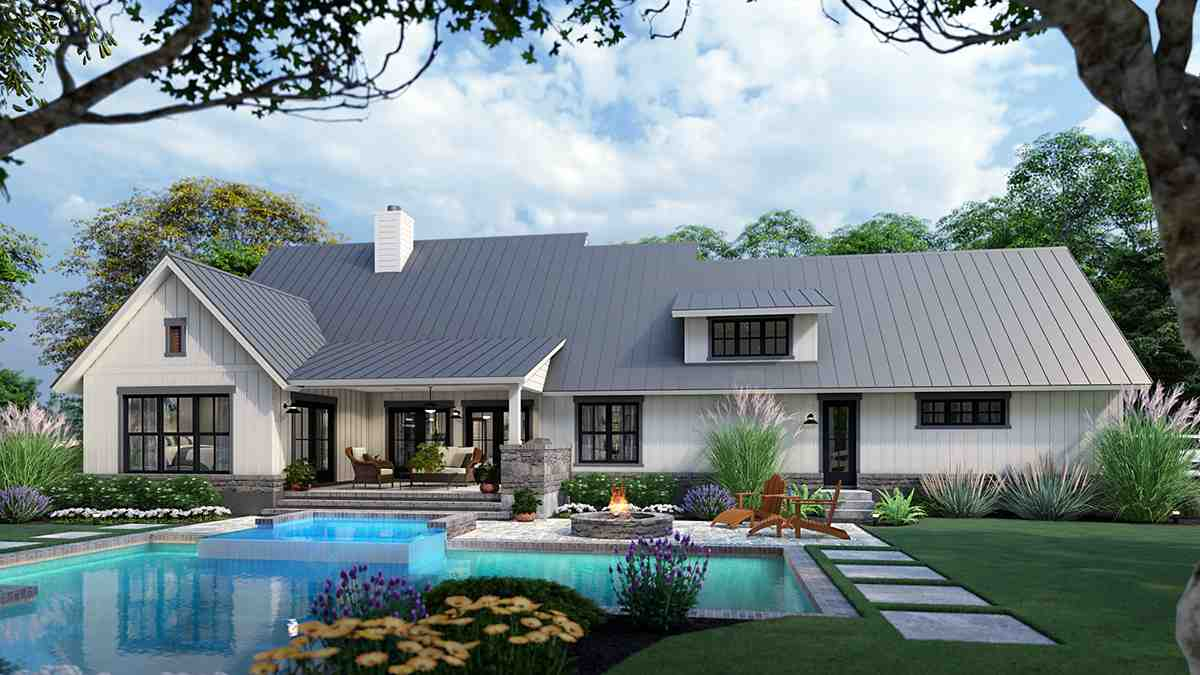 Cottage, Farmhouse, Ranch, Southern House Plan 75167 with 3 Beds, 3 Baths, 2 Car Garage Rear Elevation