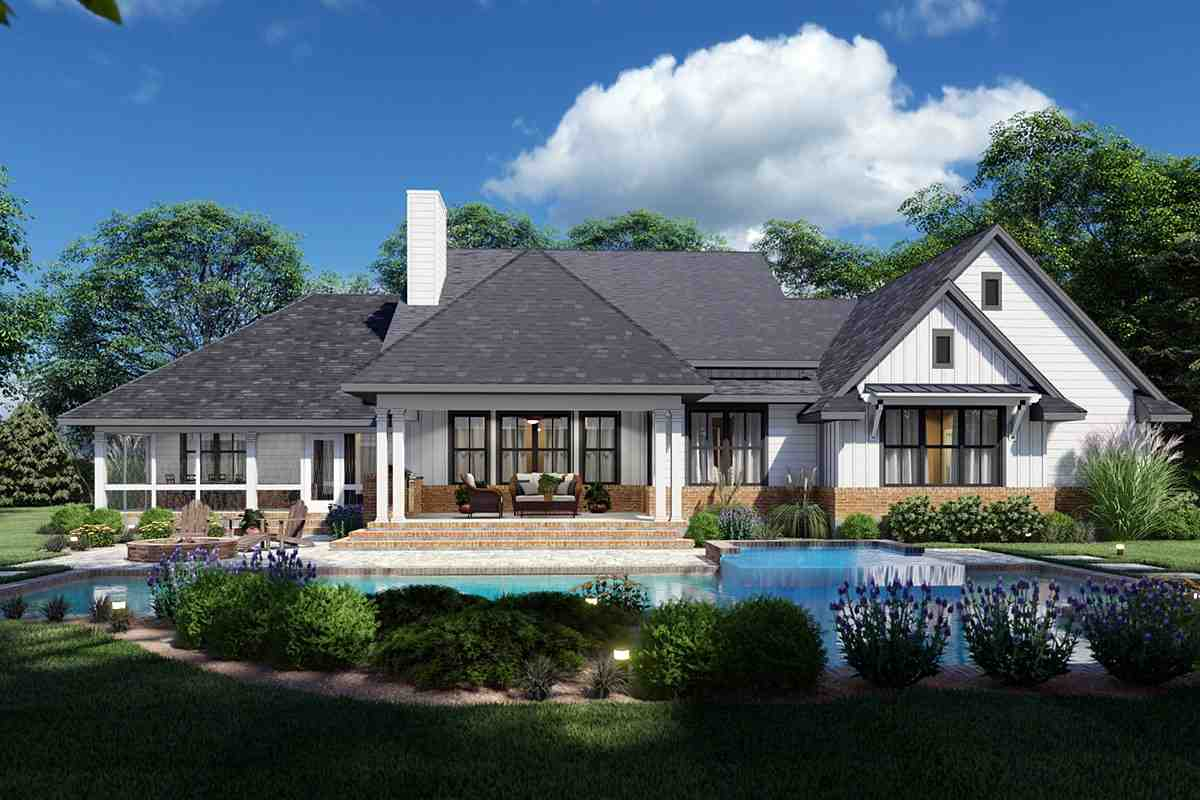 Country, Farmhouse, Ranch, Southern House Plan 75168 with 4 Beds, 4 Baths, 2 Car Garage Rear Elevation