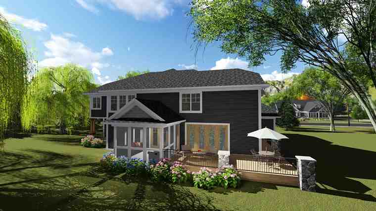 Bungalow, Contemporary, Craftsman House Plan 75249 with 6 Beds, 5 Baths, 3 Car Garage Rear Elevation