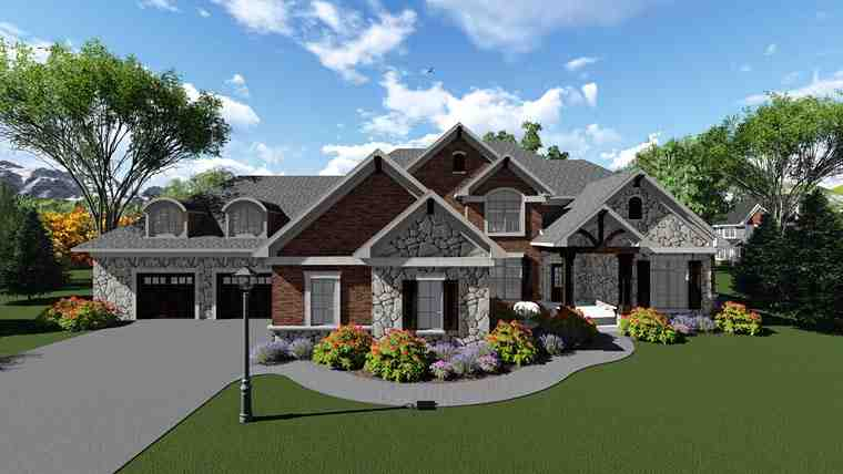 Traditional House Plan 75416 with 4 Beds, 4 Baths, 3 Car Garage Picture 1