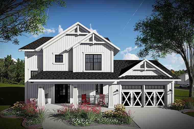 Country, Farmhouse, Southern House Plan 75425 with 3 Beds, 3 Baths, 2 Car Garage Elevation
