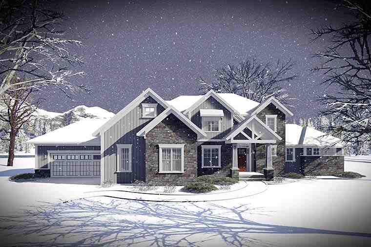 Craftsman, Traditional House Plan 75442 with 5 Beds, 5 Baths, 3 Car Garage Picture 1