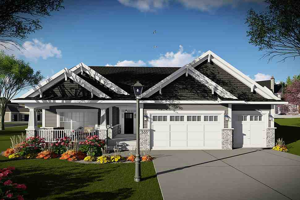 Craftsman, Traditional House Plan 75458 with 3 Beds, 2 Baths, 3 Car Garage Picture 1