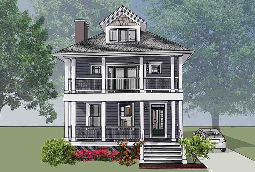 Colonial, Southern House Plan 75501 with 3 Beds, 3 Baths Elevation