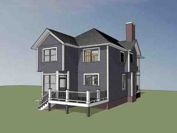 Colonial, Southern House Plan 75501 with 3 Beds, 3 Baths Rear Elevation