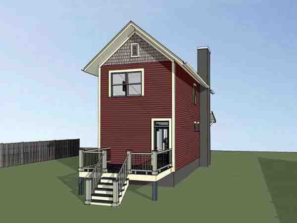 Colonial, Country, Southern House Plan 75525 with 2 Beds, 3 Baths Rear Elevation