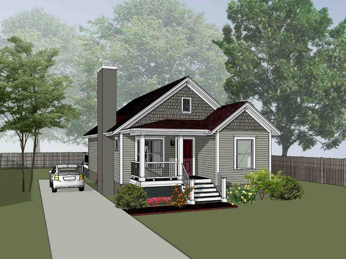 Bungalow House Plan 75527 with 4 Beds, 2 Baths Elevation