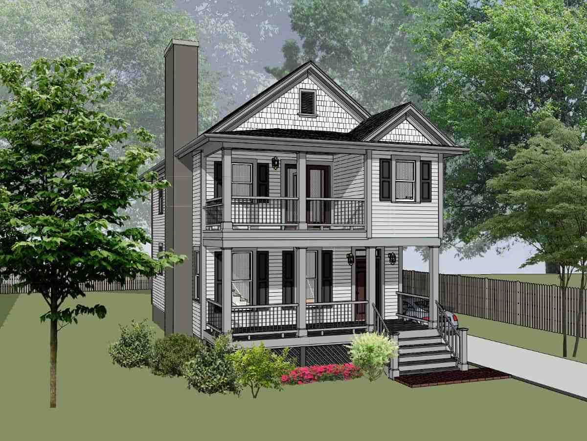Colonial, Country, Southern House Plan 75575 with 3 Beds, 3 Baths Elevation