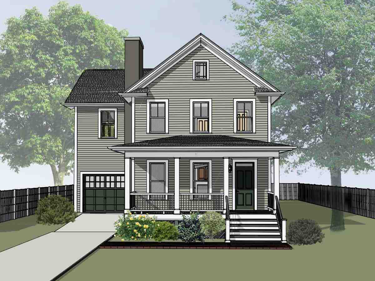 Colonial, Country, Narrow Lot, Southern House Plan 75579 with 4 Beds, 3 Baths, 1 Car Garage Elevation