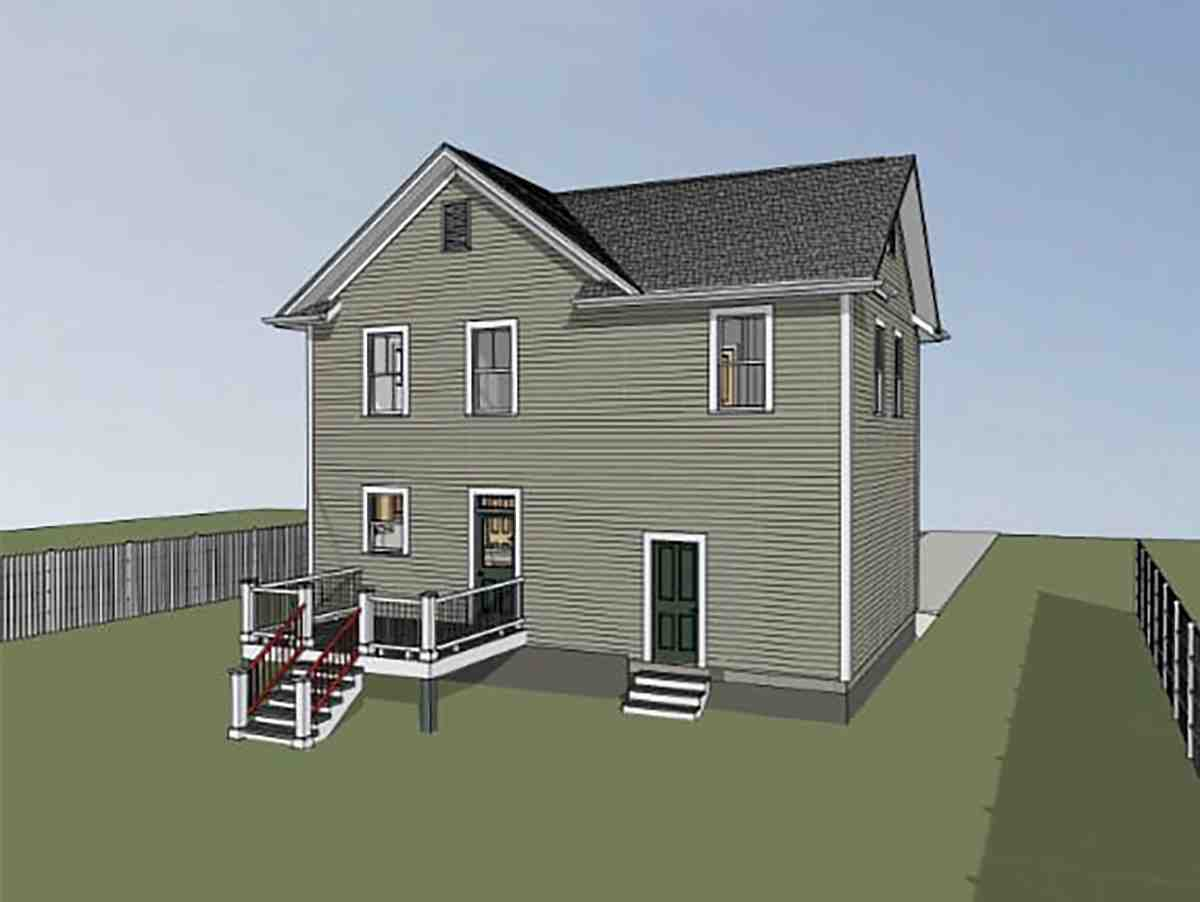 Colonial, Country, Narrow Lot, Southern House Plan 75579 with 4 Beds, 3 Baths, 1 Car Garage Rear Elevation