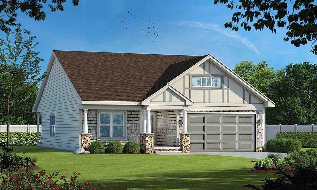 Craftsman, Tudor House Plan 75733 with 2 Beds, 2 Baths, 2 Car Garage Elevation