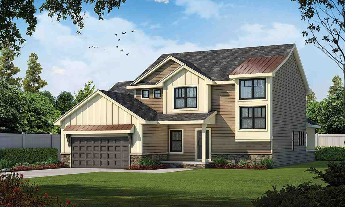 Traditional House Plan 75754 with 4 Beds, 3 Baths, 3 Car Garage Elevation