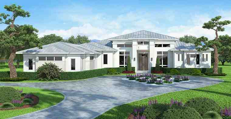 Coastal, Contemporary, Florida, Mediterranean House Plan 75967 with 5 Beds, 6 Baths, 3 Car Garage Elevation