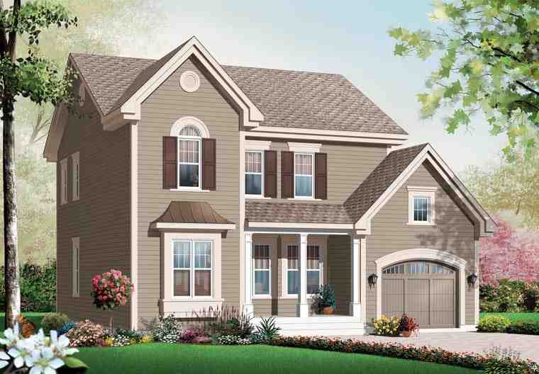 Traditional House Plan 76141 with 3 Beds, 3 Baths, 1 Car Garage Elevation