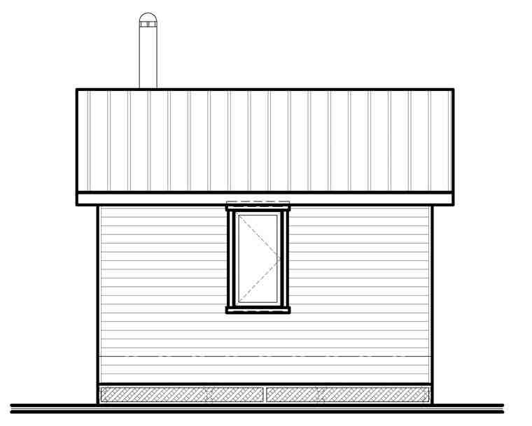 Cabin House Plan 76163 with 1 Beds, 1 Baths Rear Elevation