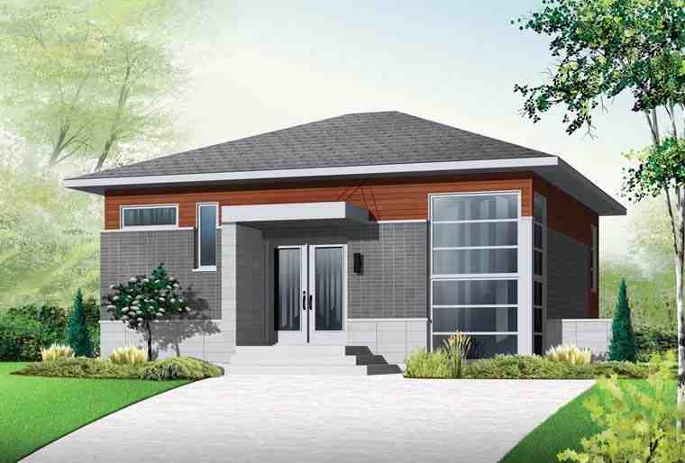 Contemporary, Modern House Plan 76298 with 3 Beds, 2 Baths Elevation