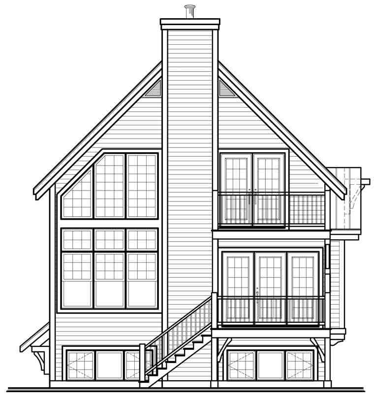 Cottage, Country, Craftsman House Plan 76337 with 4 Beds, 3 Baths Rear Elevation