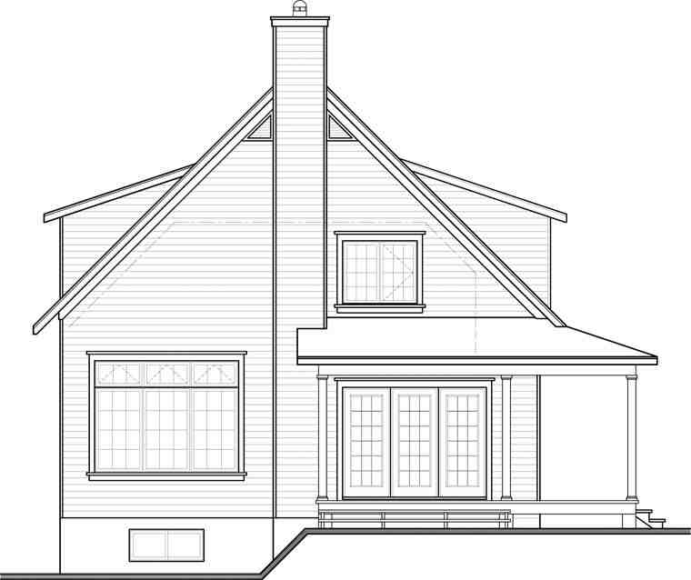 Country House Plan 76364 with 4 Beds, 2 Baths Rear Elevation