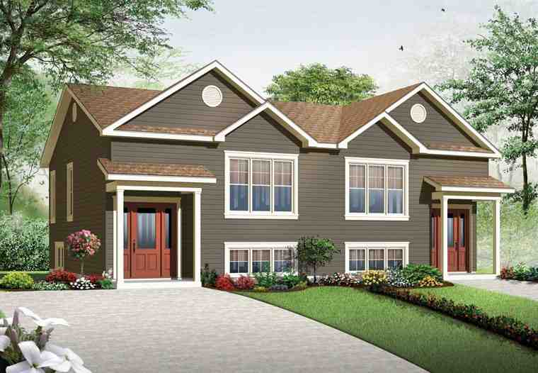 Country Multi-Family Plan 76379 with 5 Beds, 4 Baths Elevation
