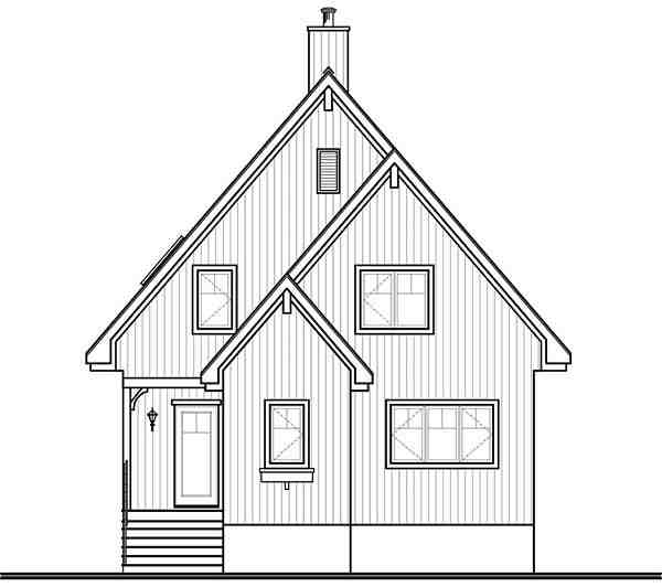 Cabin, Contemporary House Plan 76407 with 3 Beds, 2 Baths Rear Elevation