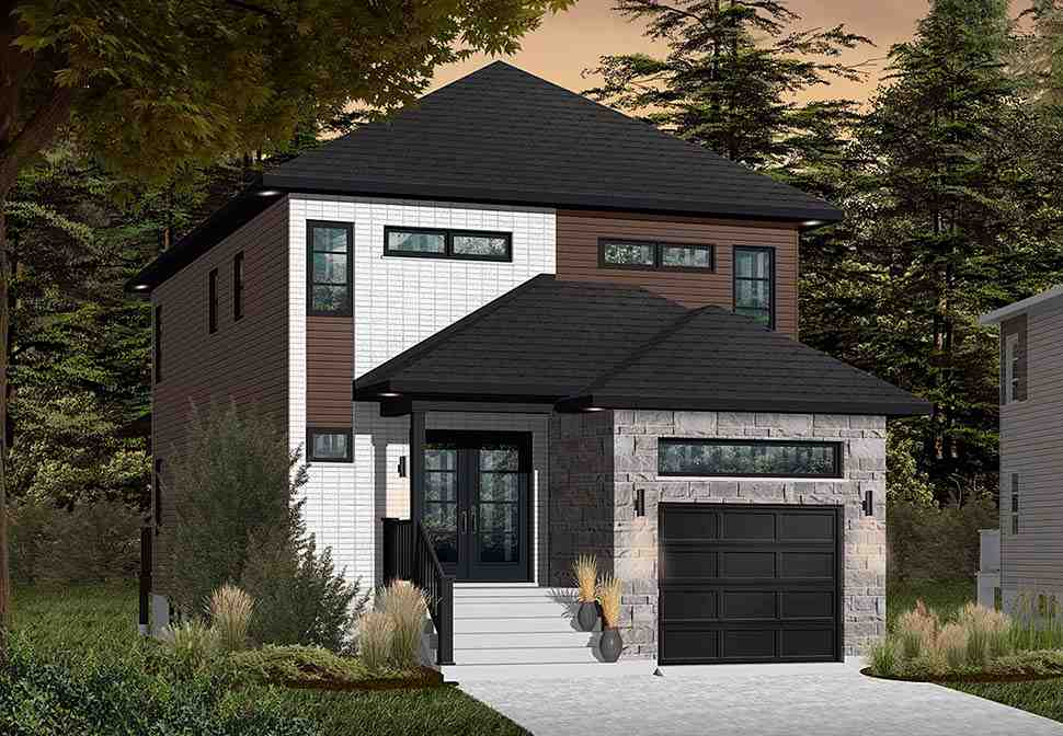Contemporary, Modern House Plan 76412 with 3 Beds, 3 Baths, 1 Car Garage Picture 2