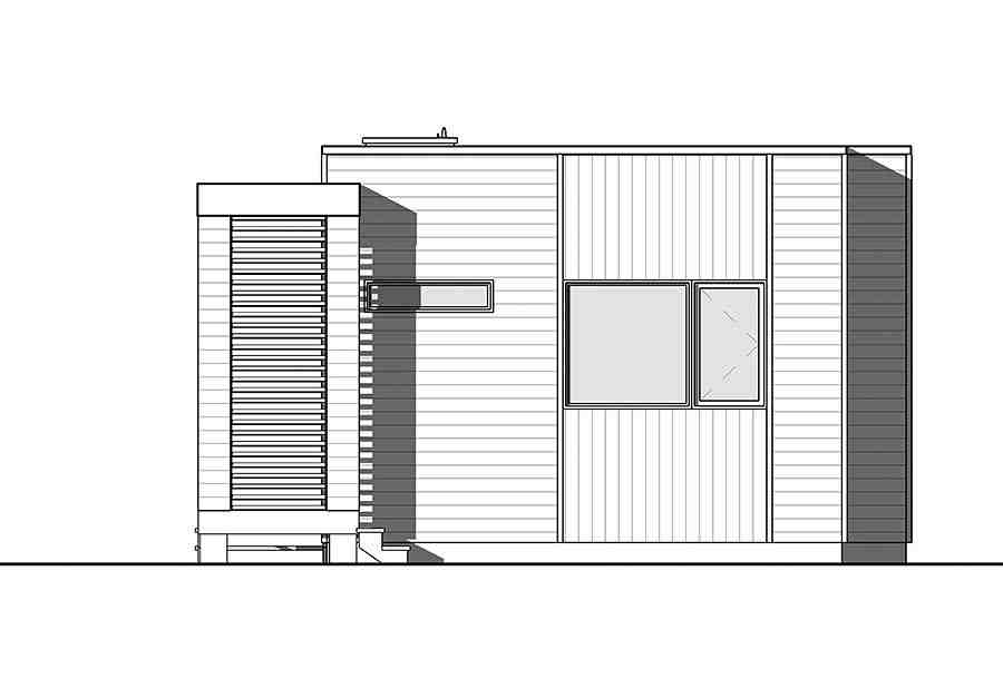 Contemporary, Modern House Plan 76460 with 2 Beds, 1 Baths Rear Elevation