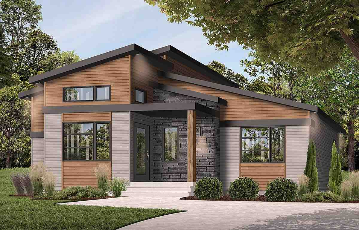 Contemporary, Modern House Plan 76543 with 1 Beds, 2 Baths Elevation