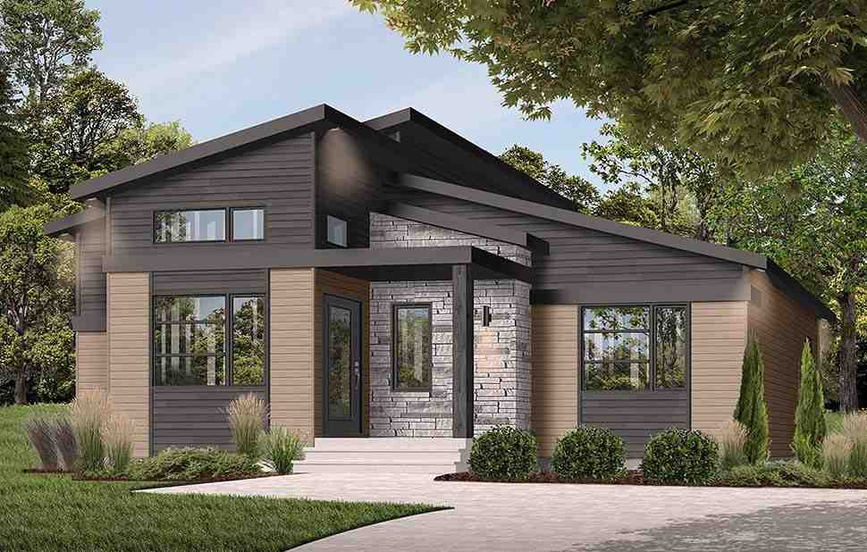 Contemporary, Modern House Plan 76543 with 1 Beds, 2 Baths Picture 1