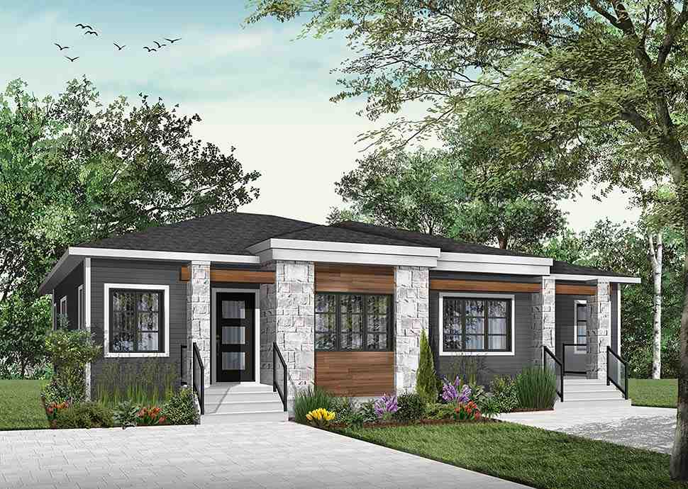 Contemporary, Modern Multi-Family Plan 76548 with 4 Beds, 2 Baths Picture 3