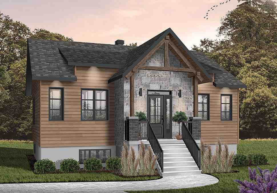Cabin, Craftsman, Ranch House Plan 76558 with 2 Beds, 1 Baths Picture 2