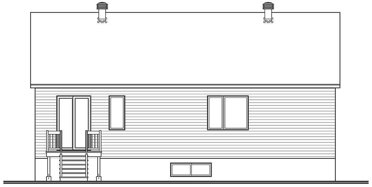 Contemporary, Modern House Plan 76567 with 3 Beds, 1 Baths Rear Elevation