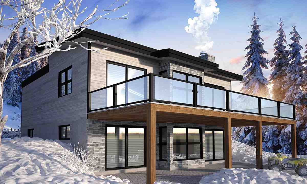 Cabin, Contemporary, Cottage, Modern House Plan 76571 with 4 Beds, 3 Baths Rear Elevation