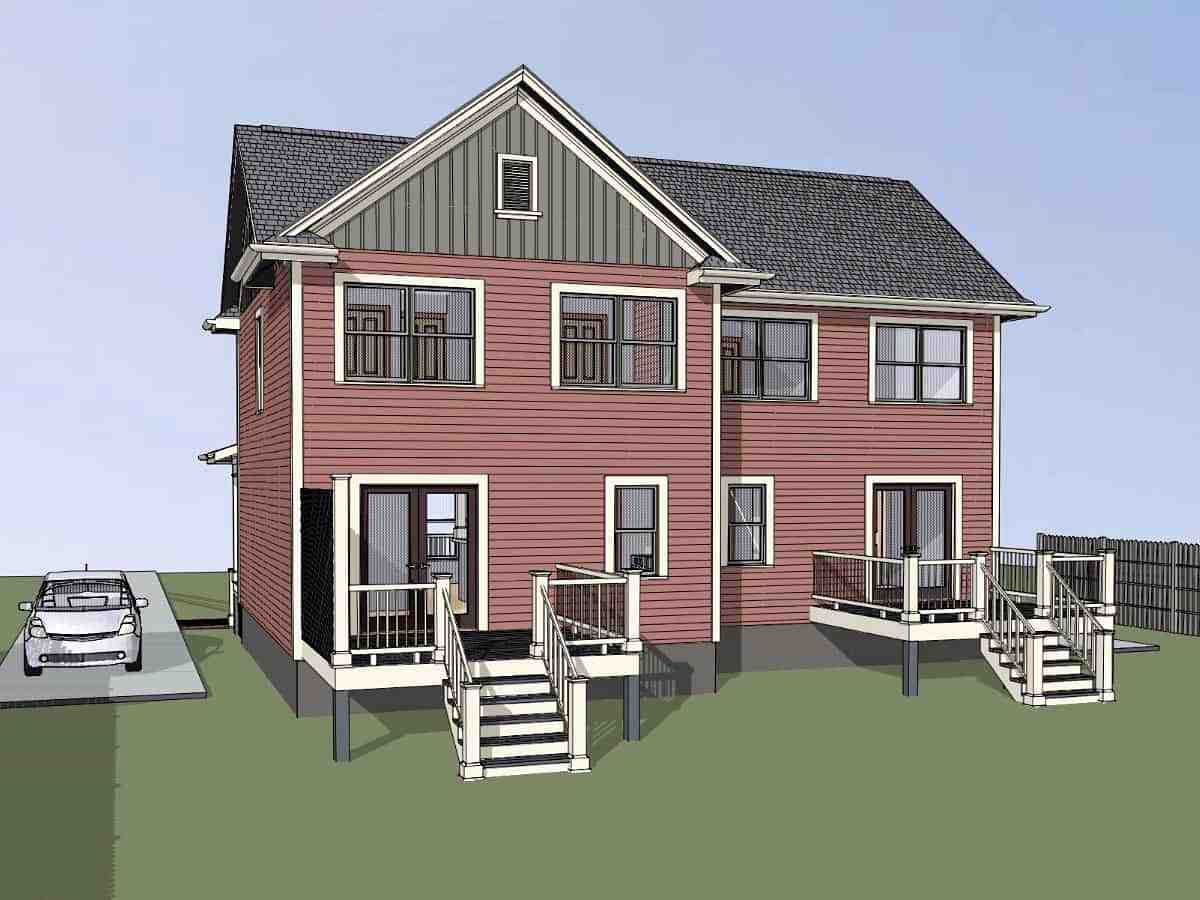 Colonial, Country Multi-Family Plan 76610 with 3 Beds, 2 Baths Picture 1