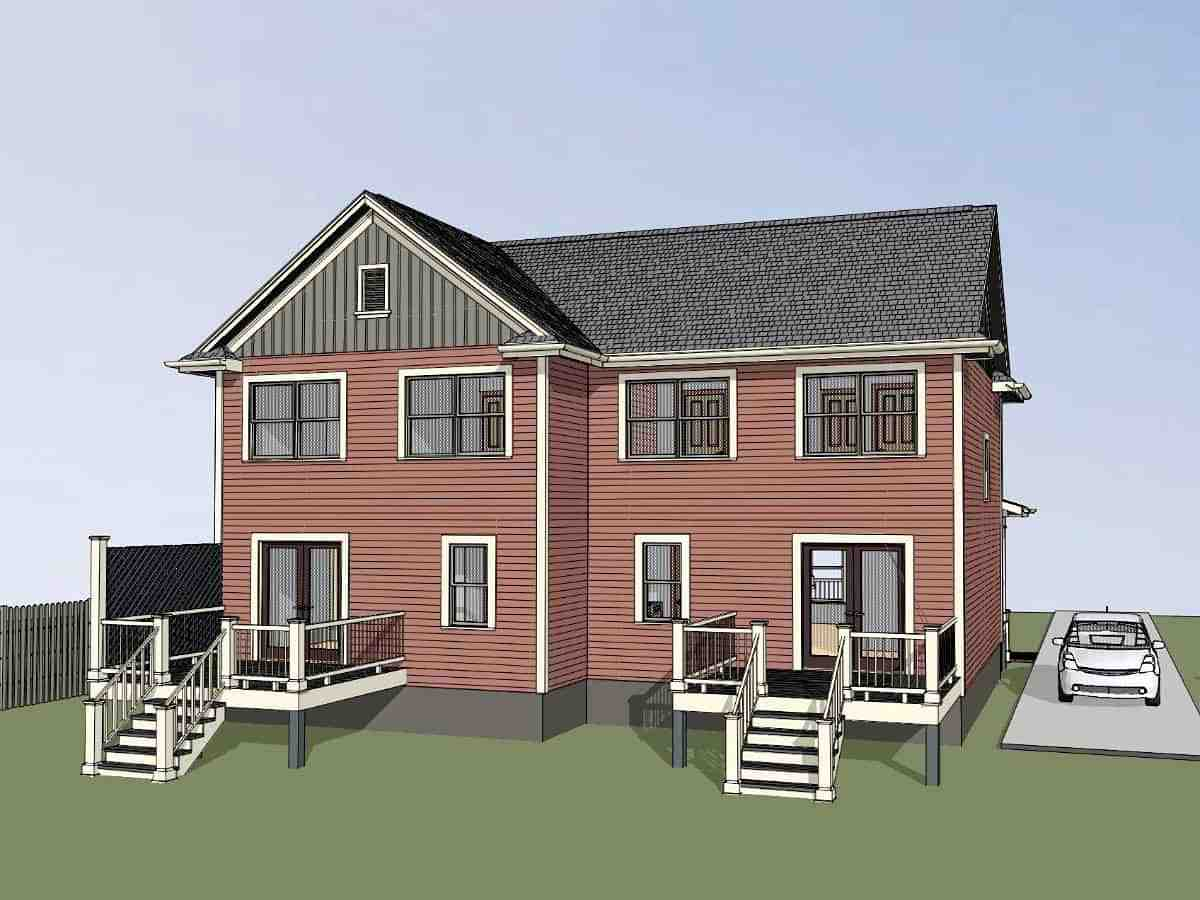 Colonial, Country Multi-Family Plan 76610 with 3 Beds, 2 Baths Picture 2