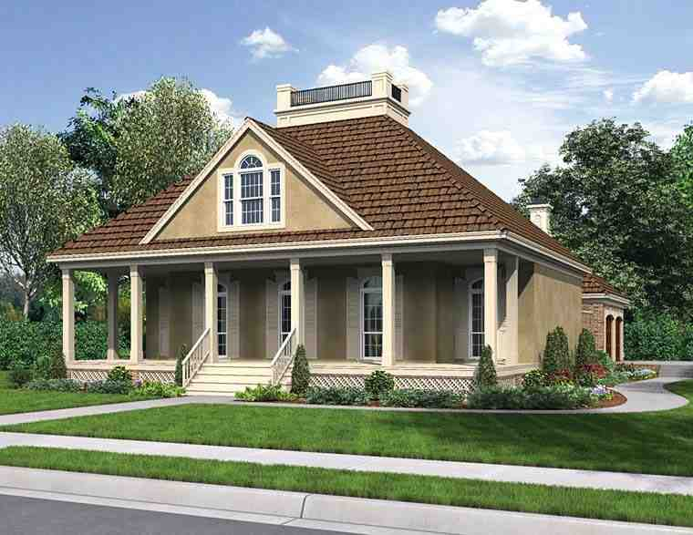 Cottage, Country, European, French Country, Southern House Plan 76919 with 3 Beds, 2 Baths, 2 Car Garage Elevation