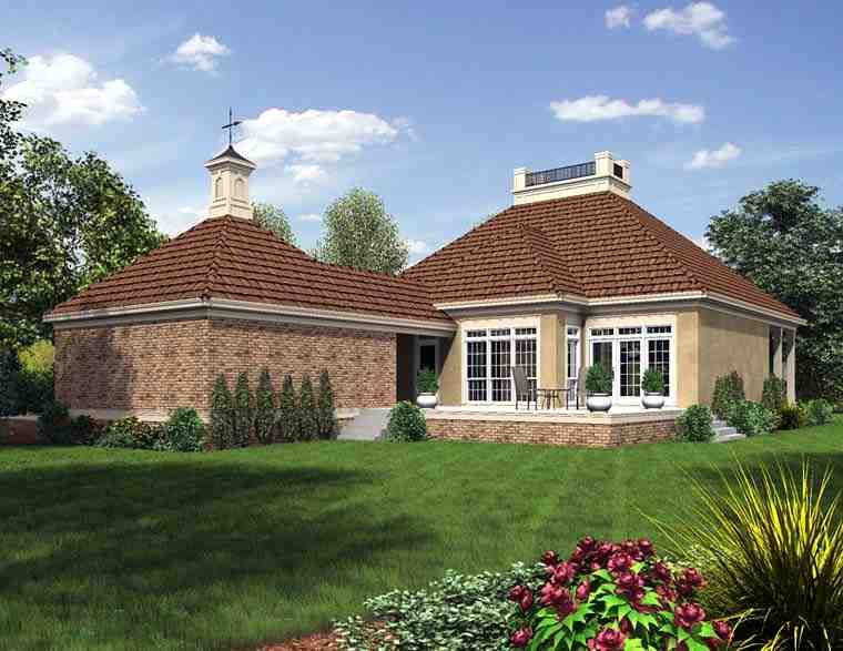 Cottage, Country, European, French Country, Southern House Plan 76919 with 3 Beds, 2 Baths, 2 Car Garage Rear Elevation