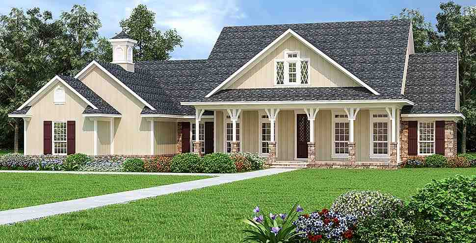 Country House Plan 76933 with 3 Beds, 3 Baths, 2 Car Garage Elevation