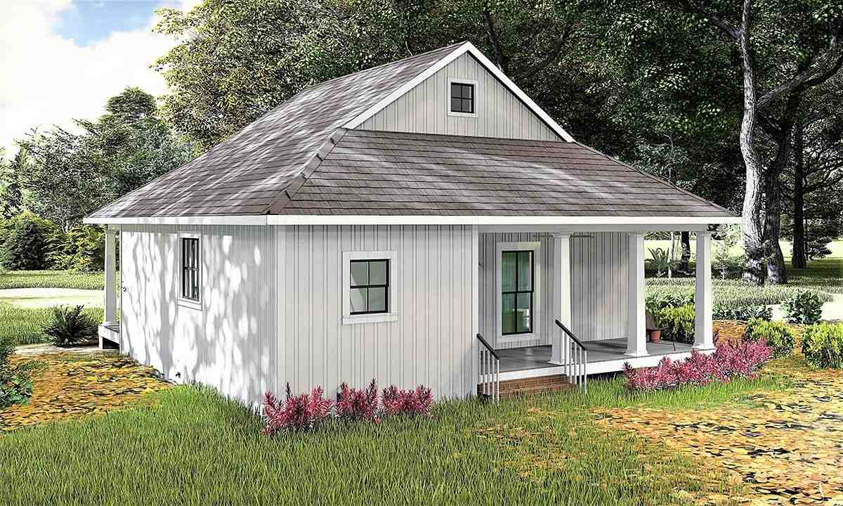 Country, Southern House Plan 77405 with 2 Beds, 1 Baths Rear Elevation
