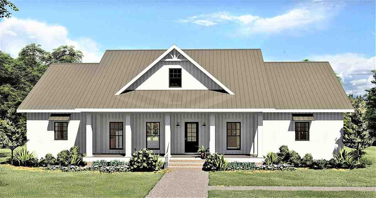 Country, Southern House Plan 77408 with 4 Beds, 3 Baths, 2 Car Garage Elevation