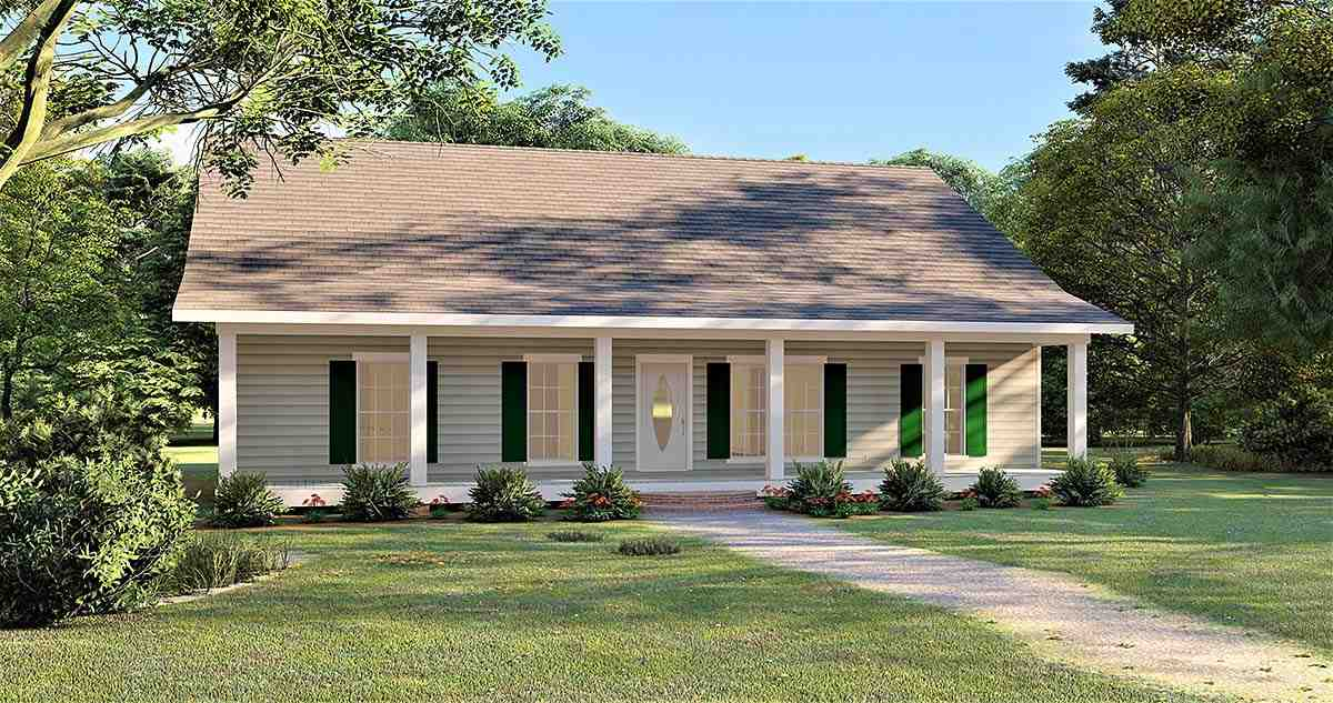 Country, Southern House Plan 77417 with 3 Beds, 2 Baths, 2 Car Garage Elevation