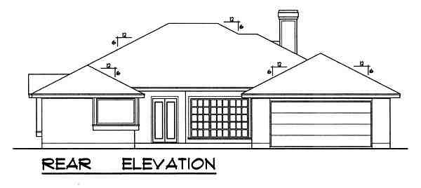 Traditional House Plan 77757 with 3 Beds, 2 Baths, 2 Car Garage Rear Elevation