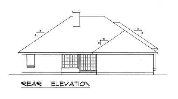 Traditional House Plan 77760 with 3 Beds, 2 Baths, 2 Car Garage Rear Elevation