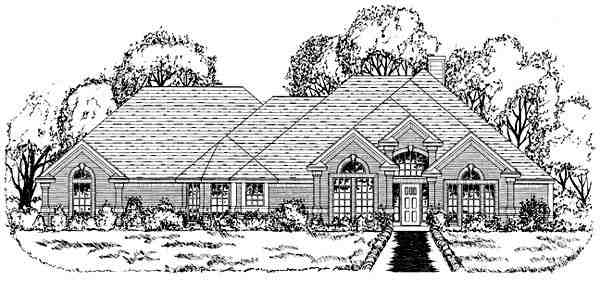 Traditional House Plan 77763 with 4 Beds, 3 Baths, 3 Car Garage Elevation