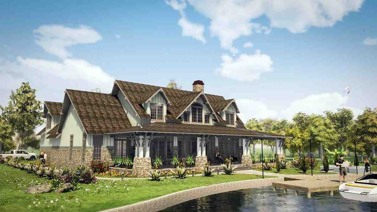 Tudor, Tuscan House Plan 78501 with 5 Beds, 6 Baths, 2 Car Garage Rear Elevation